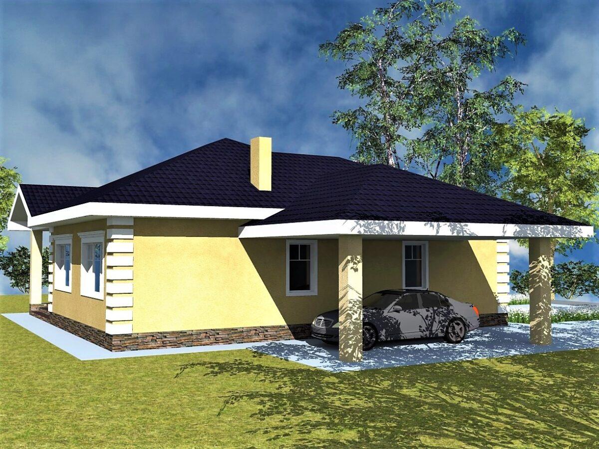 Жасмин B-042 с видеообзором. Проект одноэтажного дома на 2 спальни, с навесом для авто