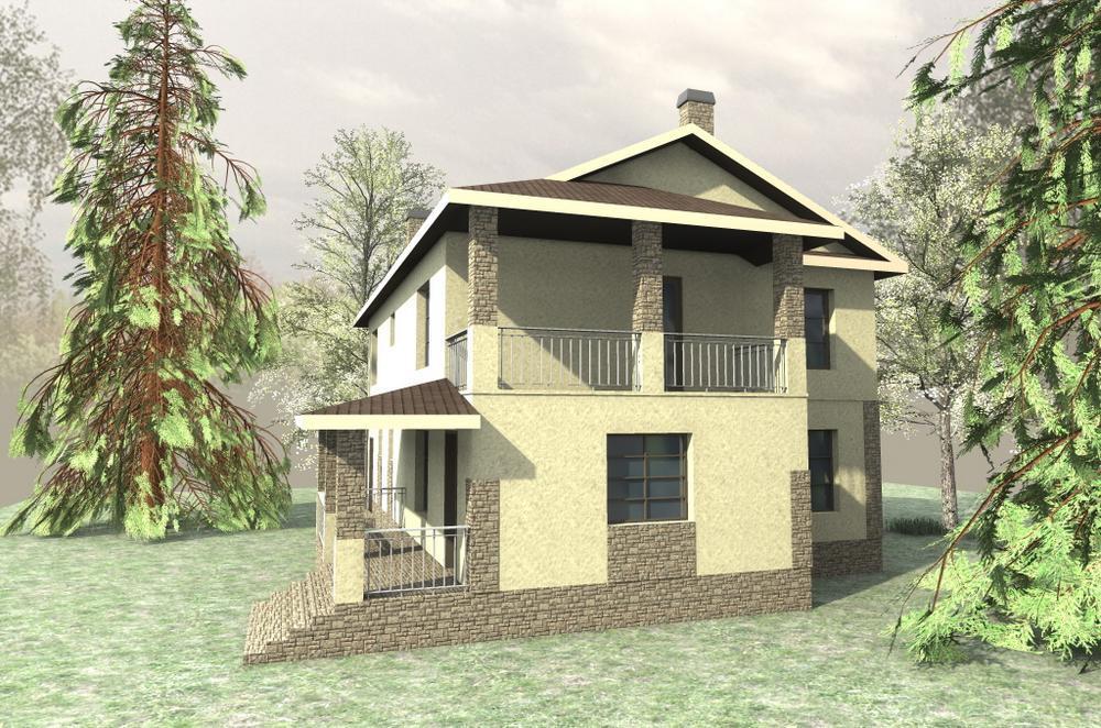 Аарон E-035. Проект двухэтажного дома на 3 спальни, с гаражом и террасой