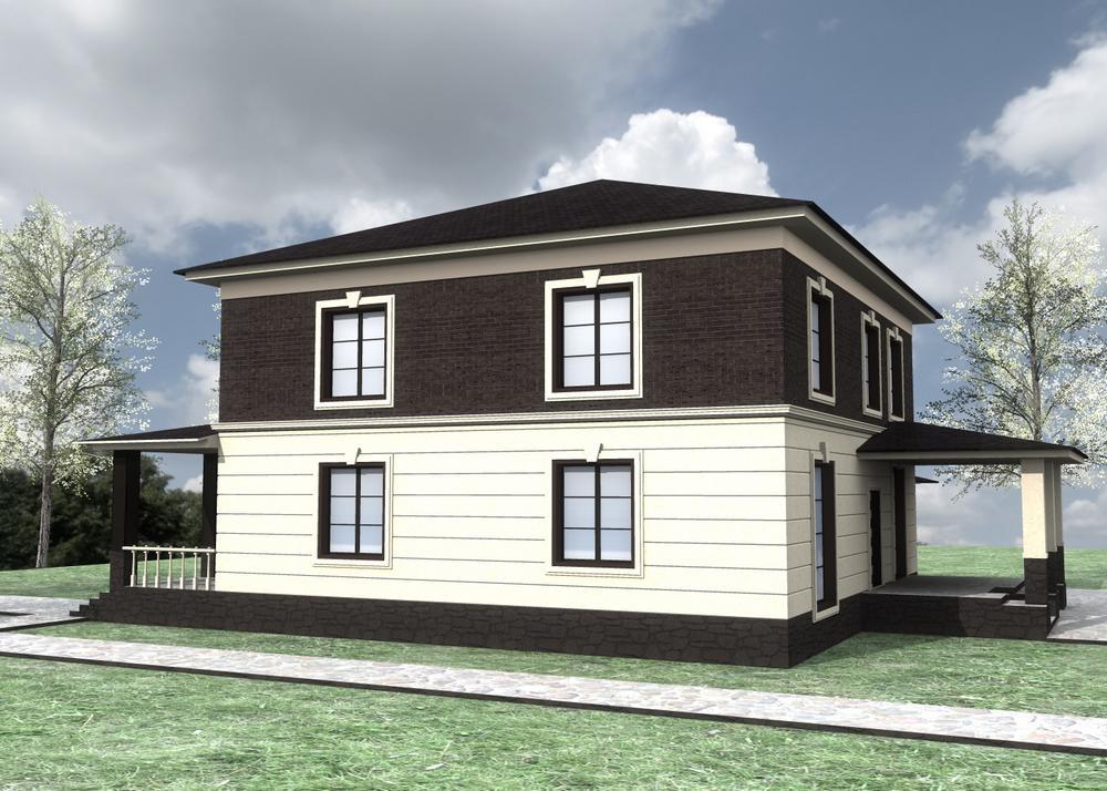 Абигейл F-069. Проект двухэтажного дома на 4 спальни, с пристроенным гаражом и террасой