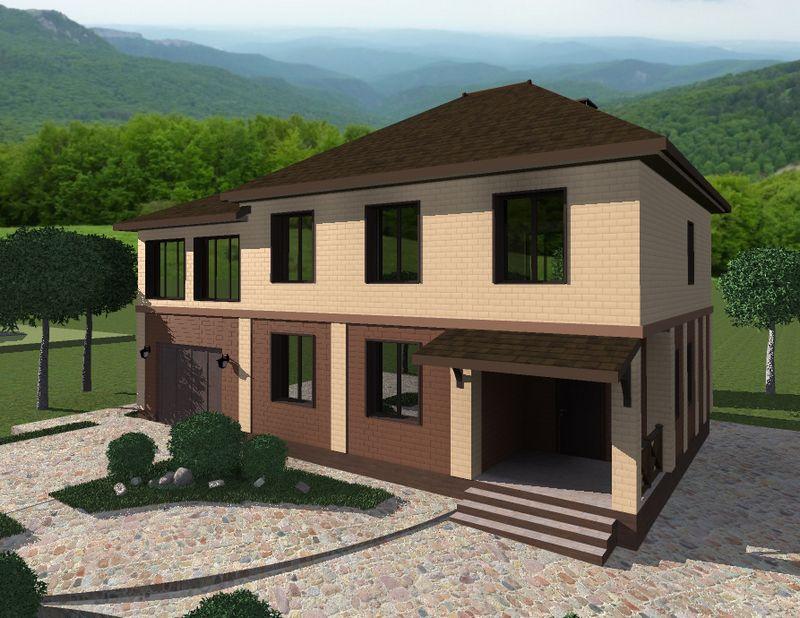 Адалат D-094. Проект двухэтажного дома на 3 спальни, с гаражом и зимним садом