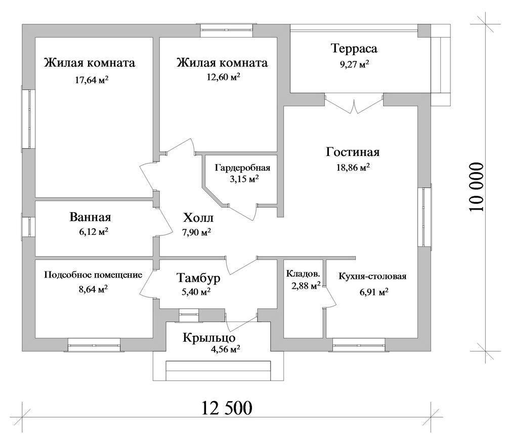 Адам B-267. Проект простого одноэтажного дома на 2 спальни, с террасой и подсобкой
