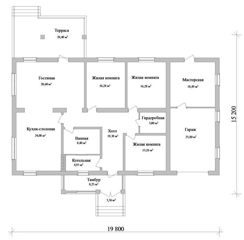 Адисон C-096. Проект одноэтажного коттеджа с тремя спальнями, террасой, гаражом