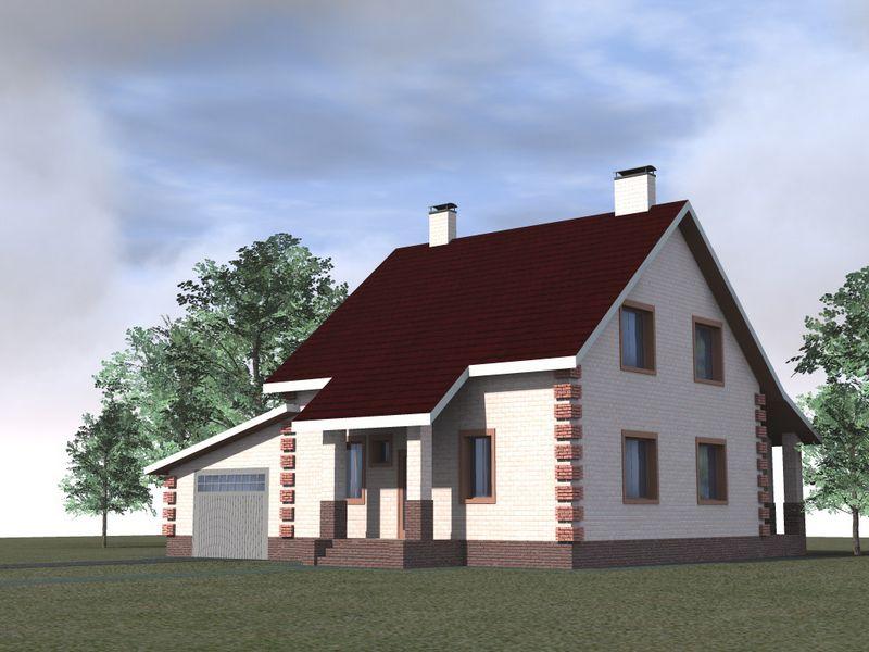 АДЛОН C-122. Проект мансардного дома с террасой и гаражом