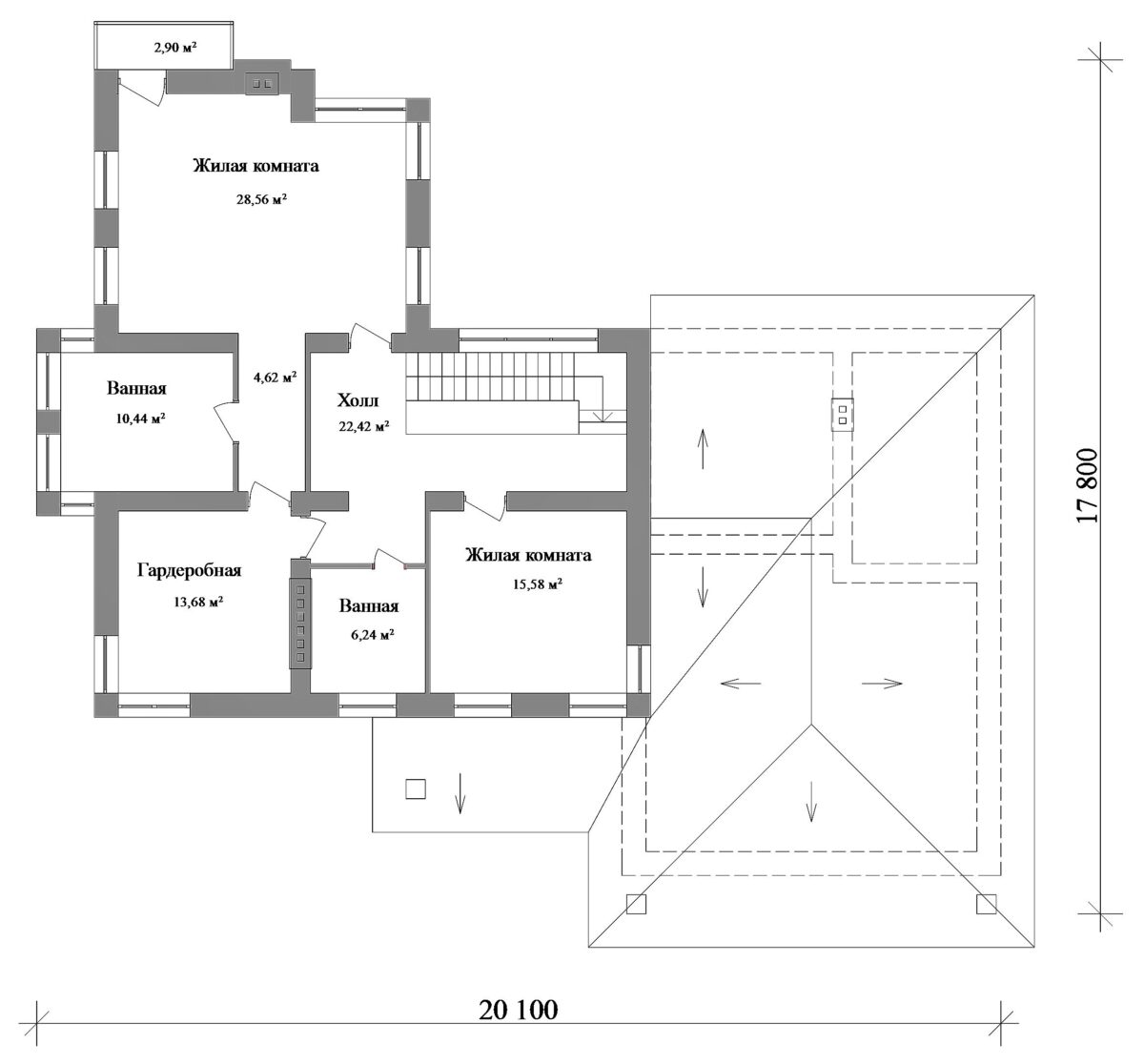 Адмирал E-024. Проект двухэтажного дома на 3 спальни, с пристроенным гаражом на 2 авто
