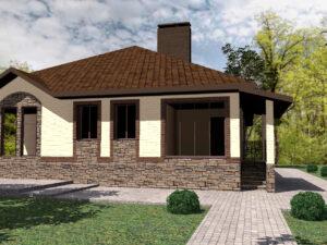Агвид C-226. Проект одноэтажного дома с 2 спальнями, гостиной и террасой