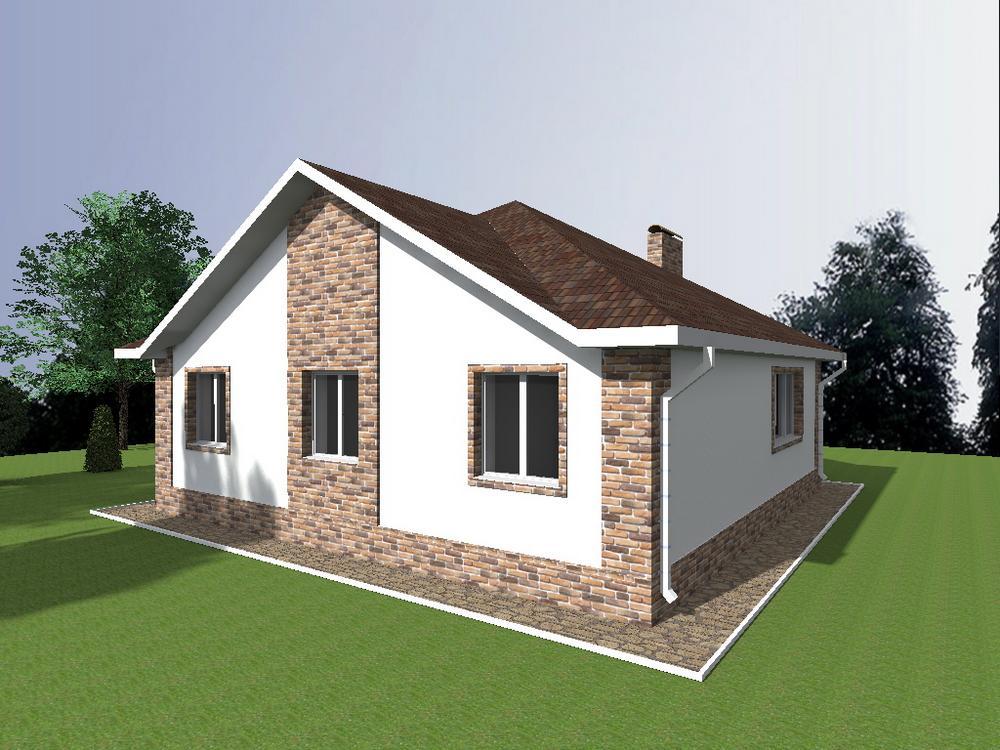 АЯС A-073. Проект одноэтажного квадратного дома с тремя спальнями