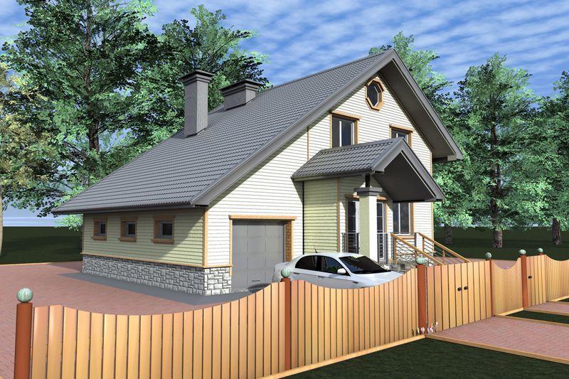 Айсберг C-136. Проект простого дома с тремя спальнями, мансардой и гаражом