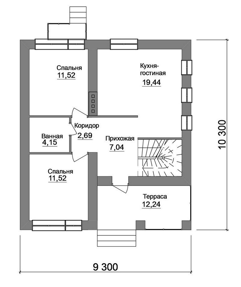 Акробат B-154. Проект дома с мансардой, на 3 спальни, с террасой