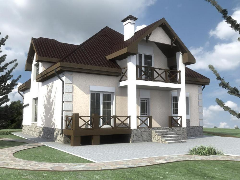 Аксель D-106 с видеообзором. Проект дома с мансардой, четырьмя спальнями, террасой и кабинетом