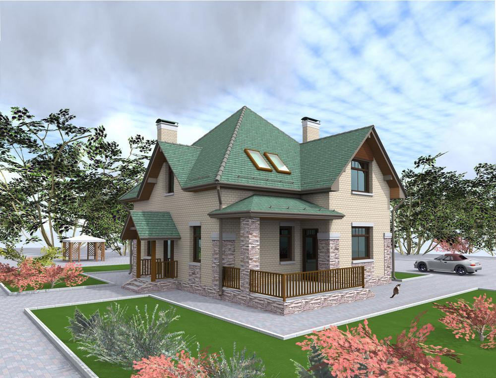 Аквамарин C-235. Проект дома с мансардой, тремя спальнями, гостиной и террасой