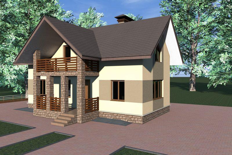 Алгар B-116. Проект простого мансардного дома на 2 спальни с террасой и балконом