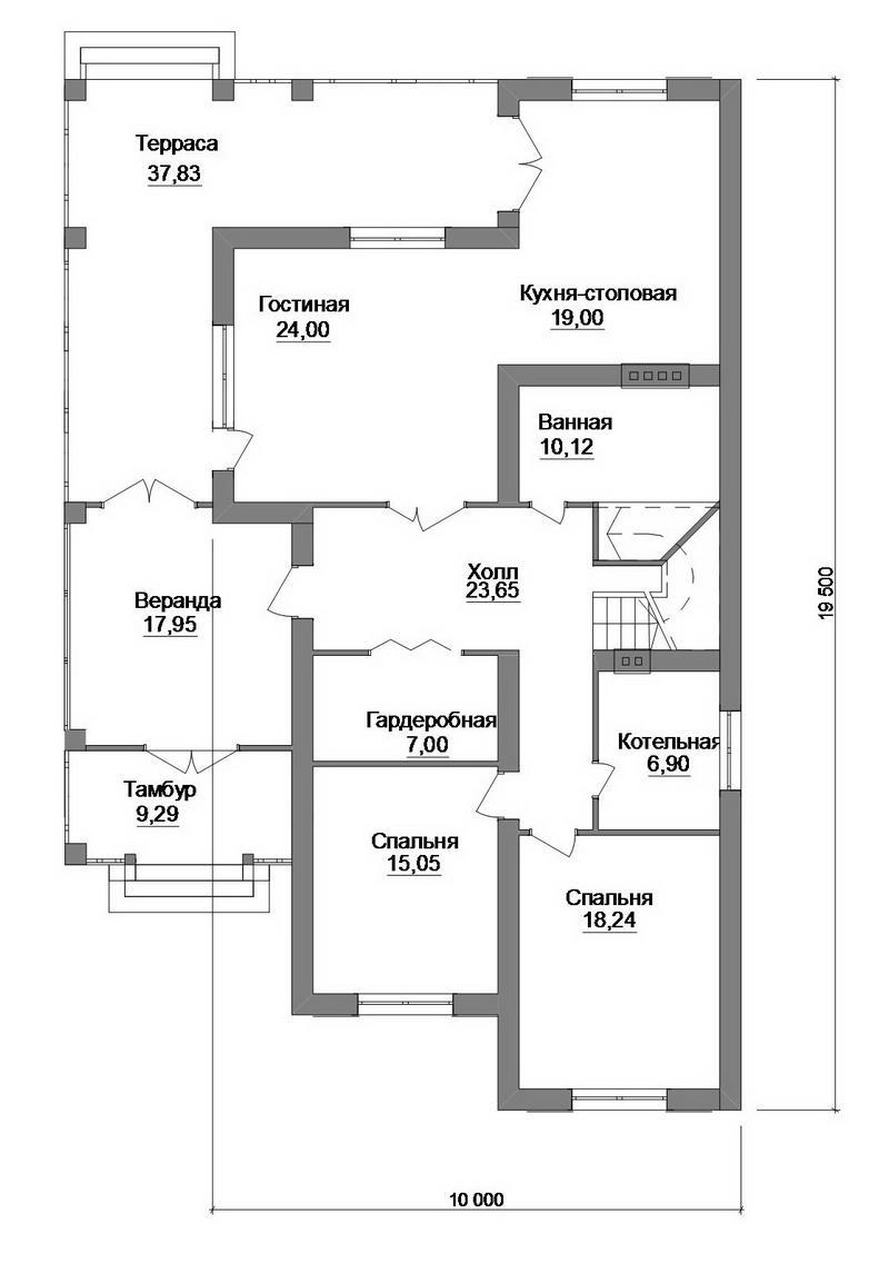 Алишер F-062. Проект большого мансардного коттеджа на 4 спальни, верандой, угловой террасой
