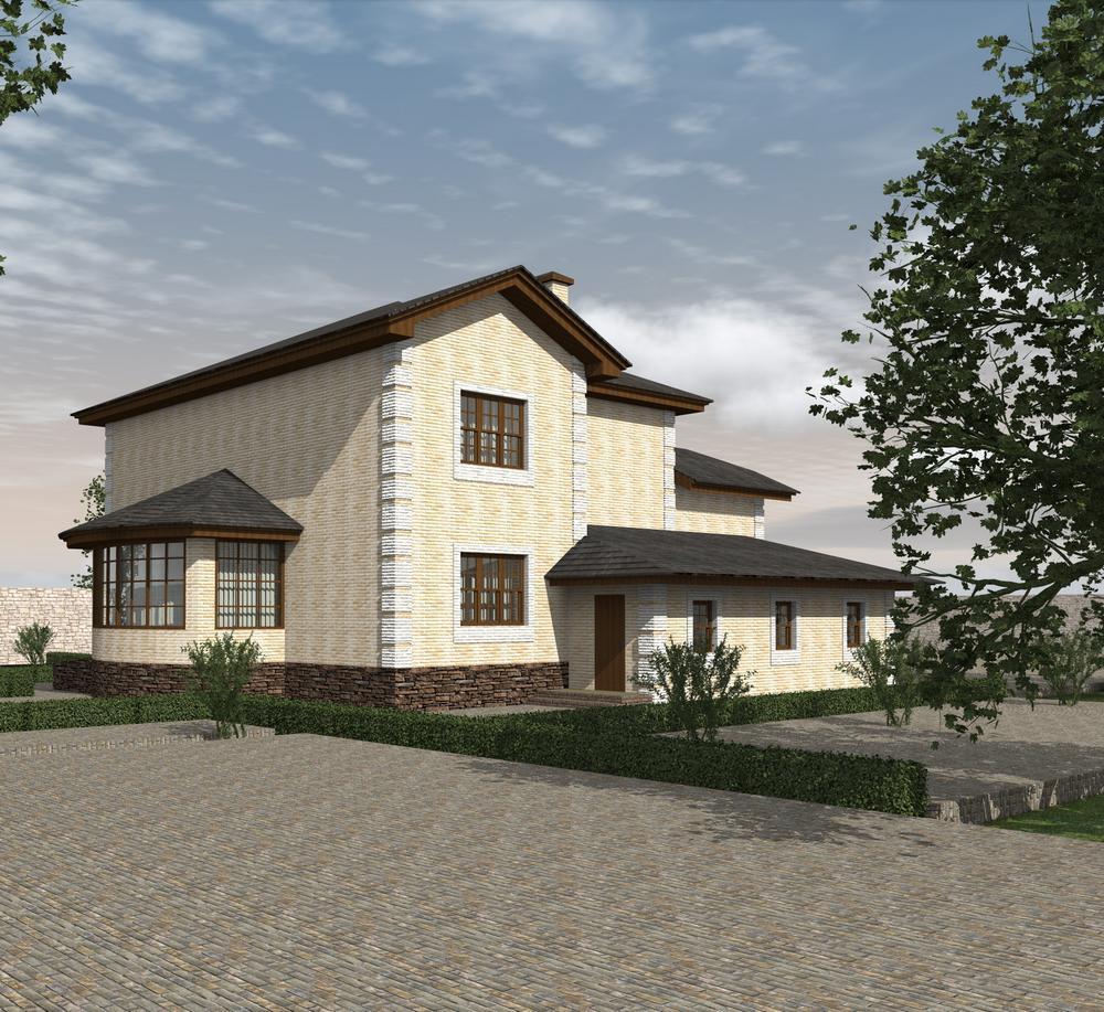 Аллюр E-046. Проект двухэтажного дома с 5 спальнями, террасой и гаражом на два авто