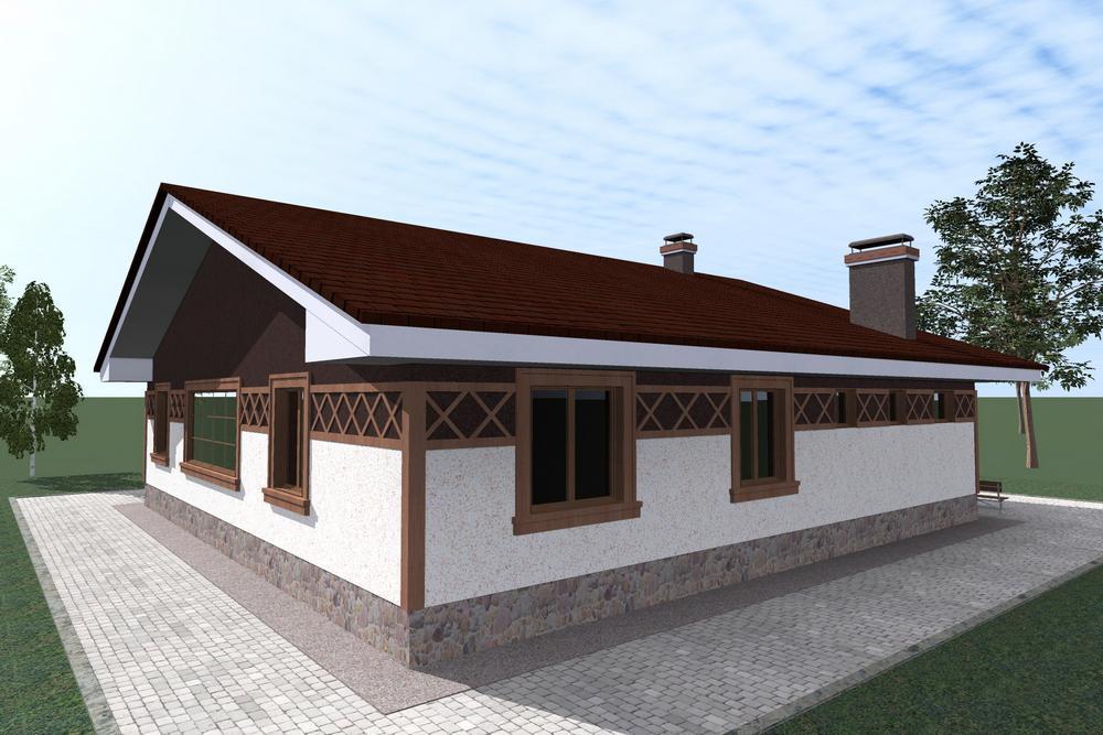 Альманах C-191. Проект одноэтажного дома на 4 спальни, с кабинетом, террасой