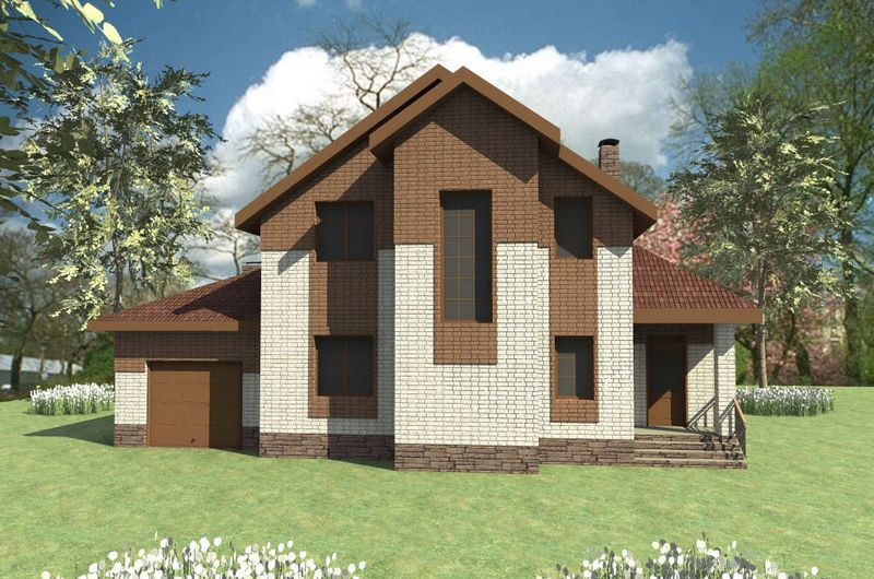 Альтаир D-067. Проект мансардного коттеджа на 4 спальни с гаражом