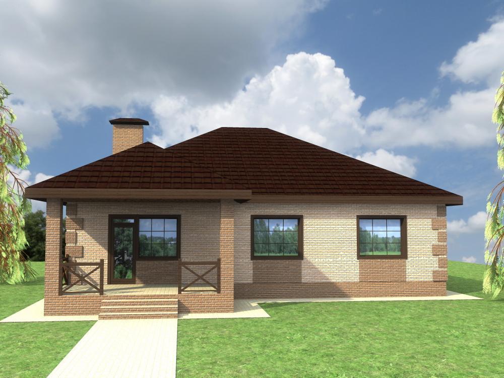 Алтын C-217. Проект одноэтажного дома на 3 спальни, с эркерной гостиной и террасой
