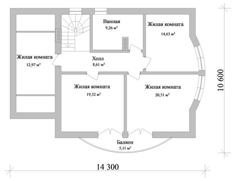 Альтштадт C-101. Проект мансардного коттеджа на 5 спален, с полукруглой гостиной