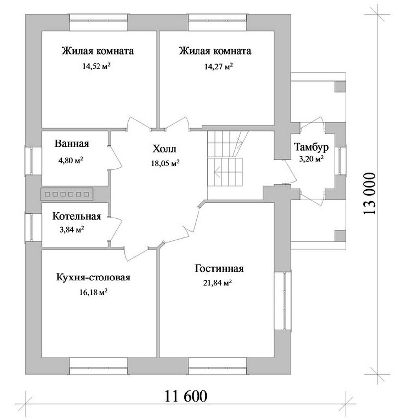 Алваро C-110. Проект дома с мансардой на 4 спальни