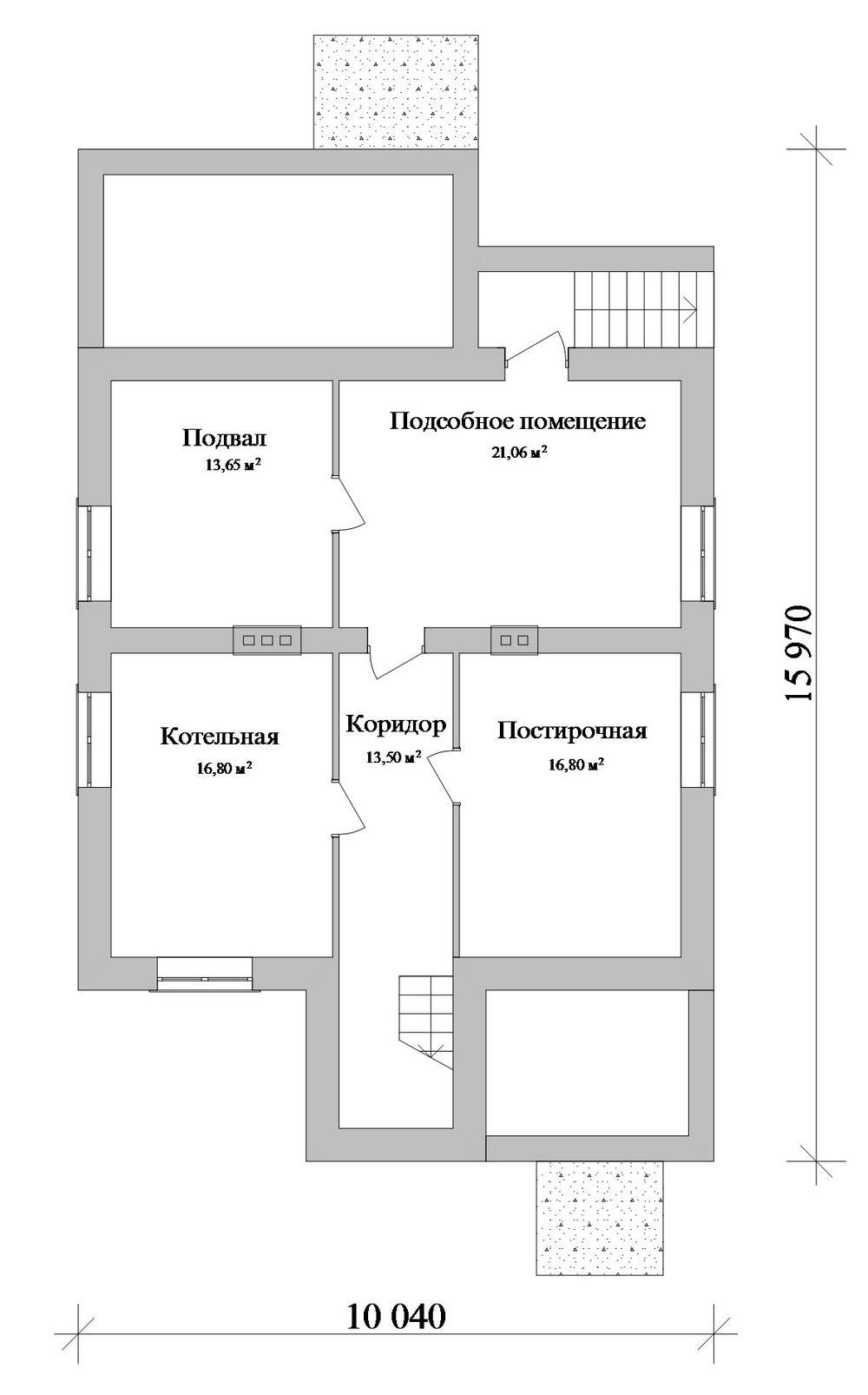 Альянс E-057. Проект двухэтажного дома с цокольным этажом, с 3 спальнями, подвалом, террасойАльянс E-057. Проект двухэтажного дома с цокольным этажом, с 3 спальнями, подвалом, террасой
