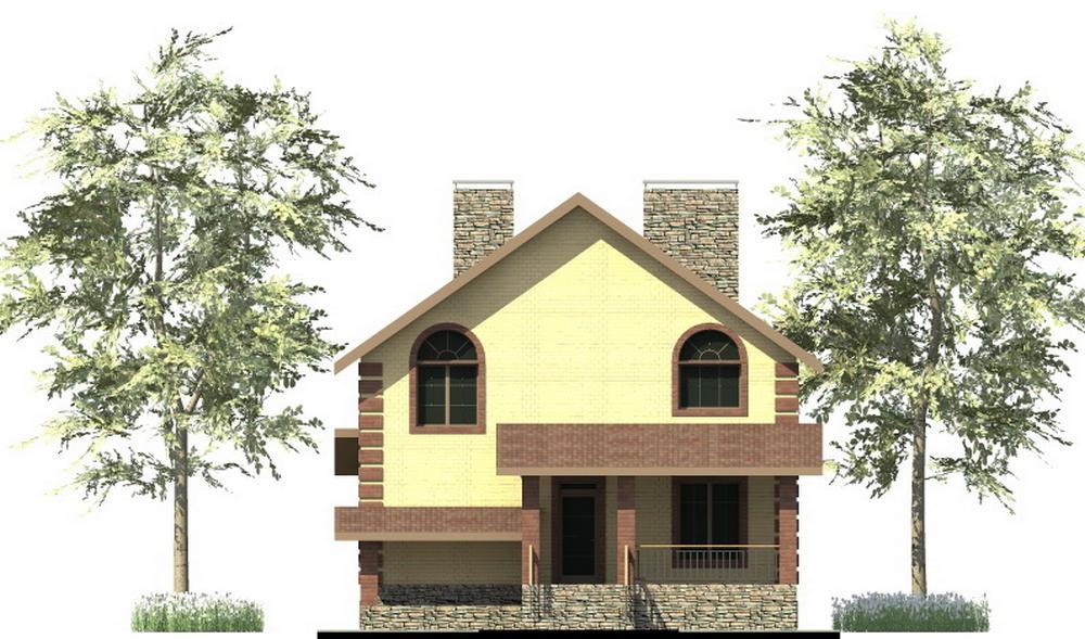 Альянс E-057. Проект двухэтажного дома с цокольным этажом, с 3 спальнями, подвалом, террасой