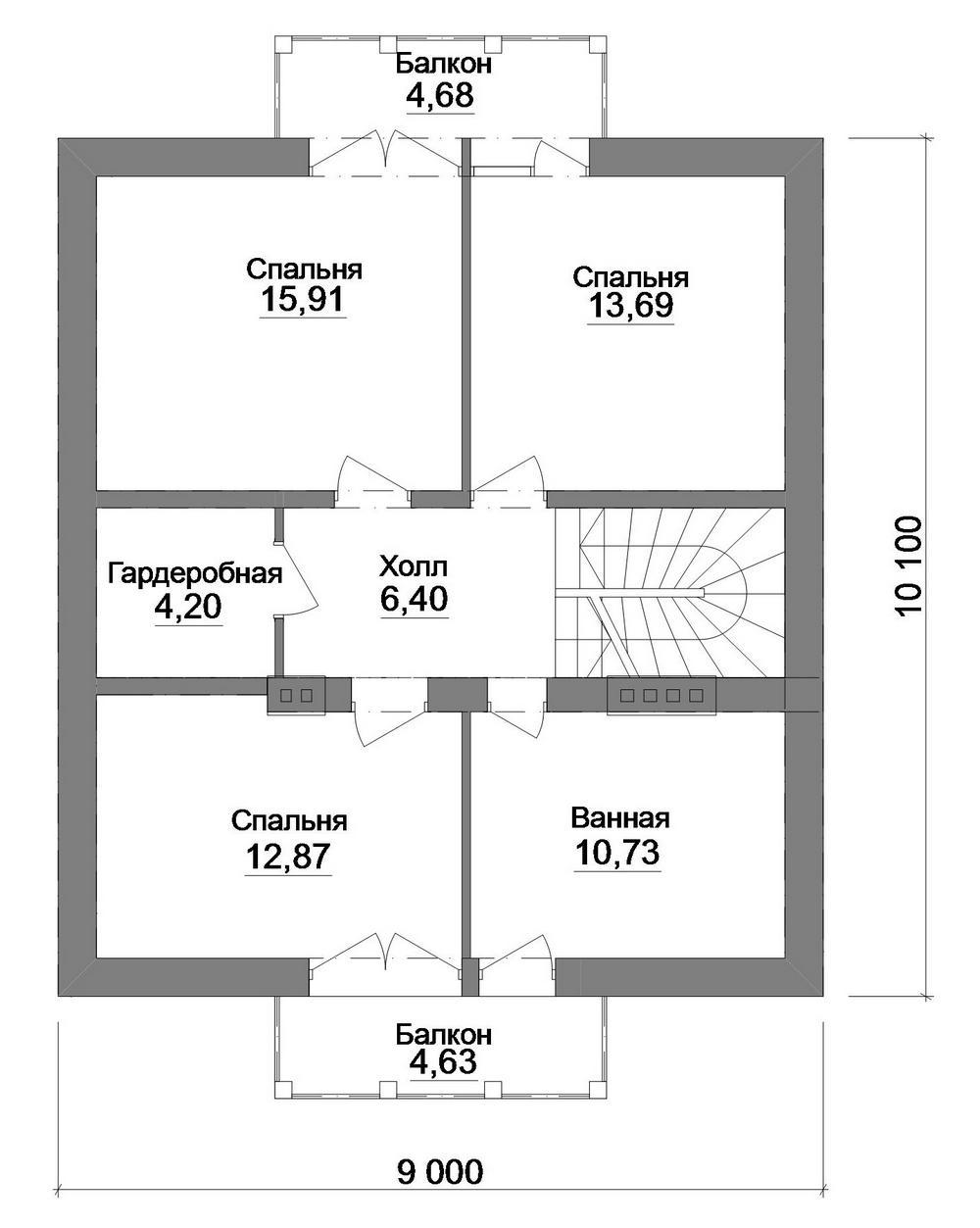 Аляска B-257 с видеообзором. Проект дома с мансардой, четырьмя спальнями и гостиной