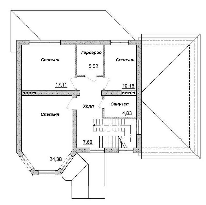 АМАДИС C-111. Проект двухэтажного дома на 4 спальни с гаражом