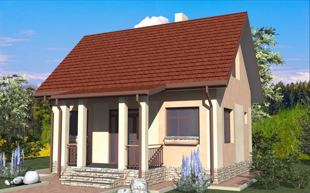 Амели A-084. Проект небольшого мансардного дома с двумя спальнями