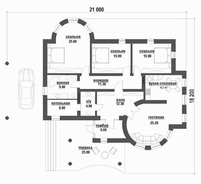 Андерс C-188 с видеообзором. Проект одноэтажного дома с тремя спальнями, террасой и навесом для авто