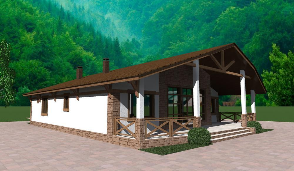 Андрес D-111. Проект одноэтажного дома с тремя спальнями, террасой и баней