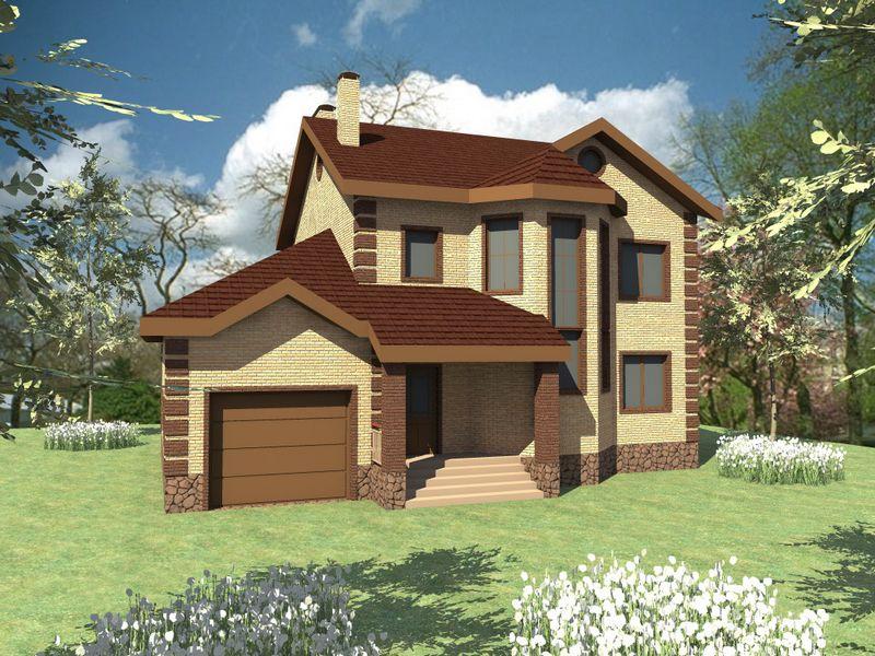 Аншеф D-074. Проект двухэтажного дома на 3 спальни, с подвалом и гаражом