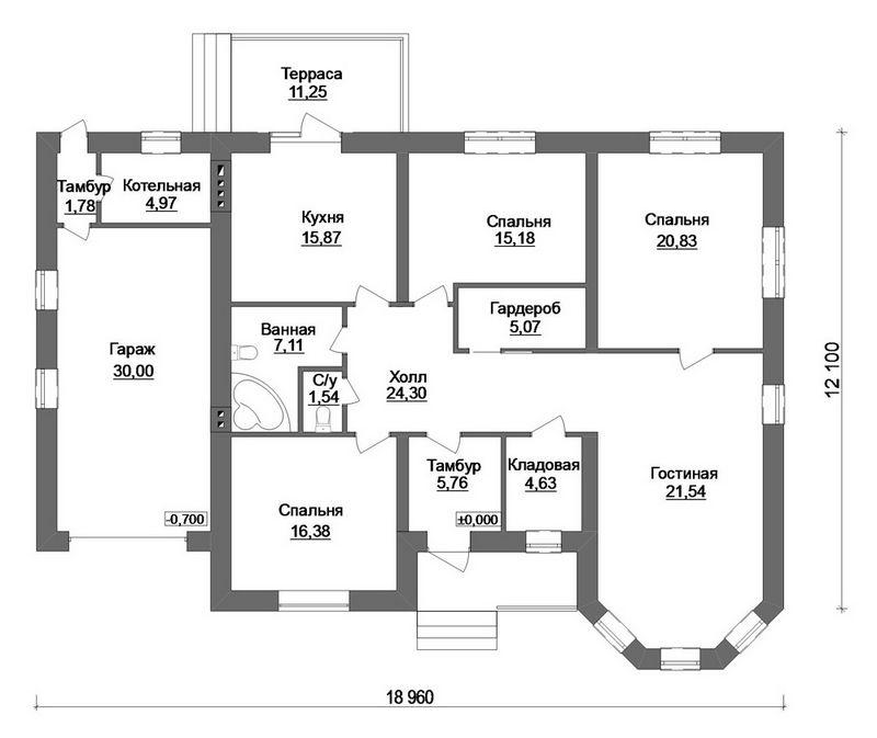 Антор C-167. Проект одноэтажного дома на 3 спальни, с пристроенным гаражом и террасой