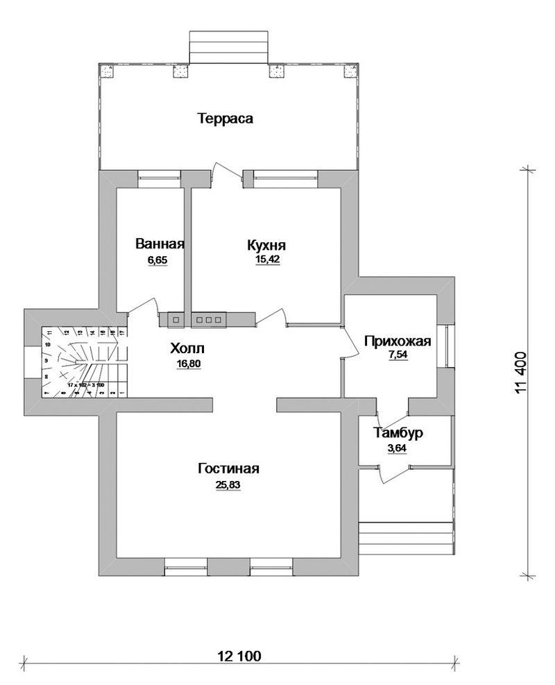 Антураж B-112. Проект просторного мансардного коттеджа на 3 спальни, с террасой