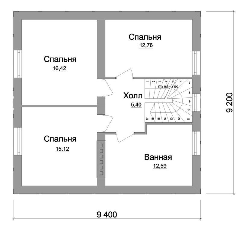 Антворт B-131. Проект мансардного дома с простой планировкой на 3 спальни