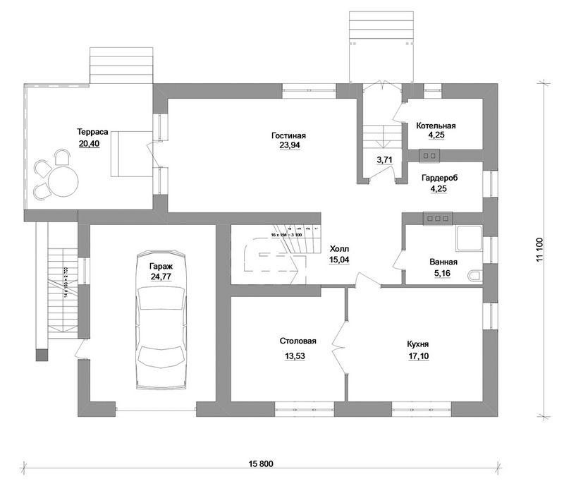Арфа D-058. Проект мансардного дома на три спальни, с пристроенным гаражом