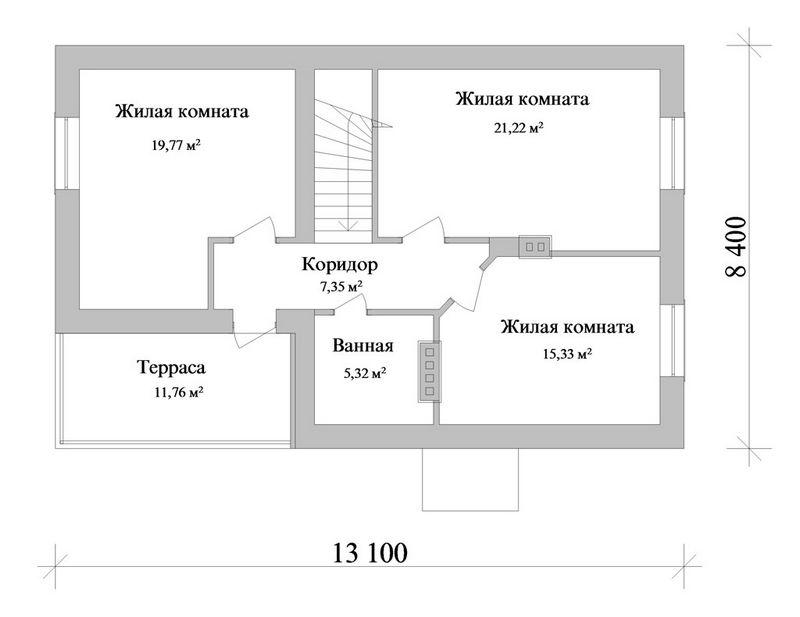 Аргос C-151. Проект мансардного коттеджа на 3 спальни, с гаражом и террасой
