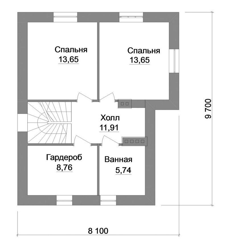 Арига B-137. Проект мансардного дома на 2 спальни, с небольшой террасой