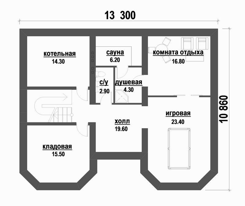 Ариз D-097. Проект дома с мансардой, цокольным этажом, баней и игровой