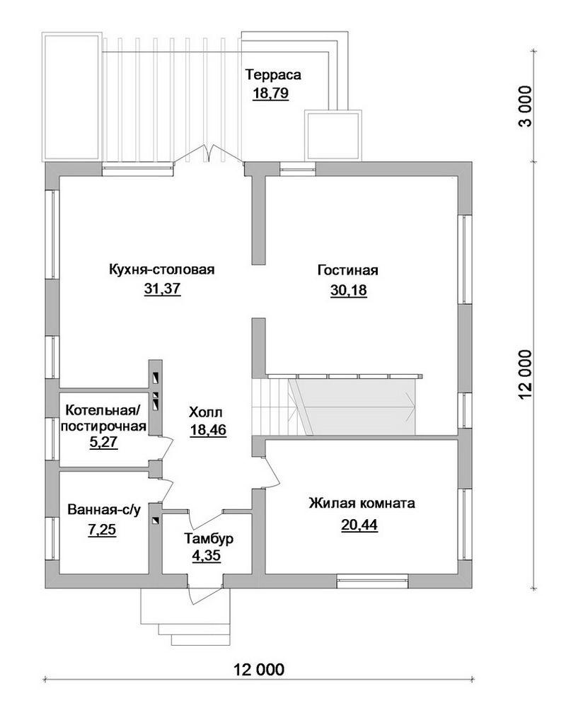 Арканзас D-079. Проект 2-этажного дома на 4 спальни с террасой в стиле конструктивизм