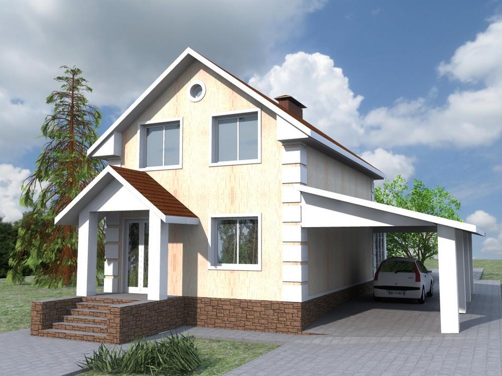 Артикул B-220. Проект мансардного дома на 2 спальни, с навесом для авто