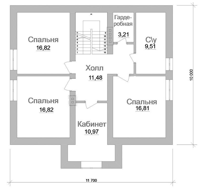 Артуро C-117. Проект дома с мансардой на 4 спальни, с террасой и вторым крыльцом