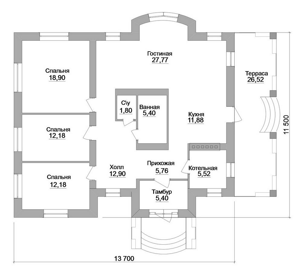 Асгард B-228. Проект одноэтажного дома на 3 спальни, с большой террасой
