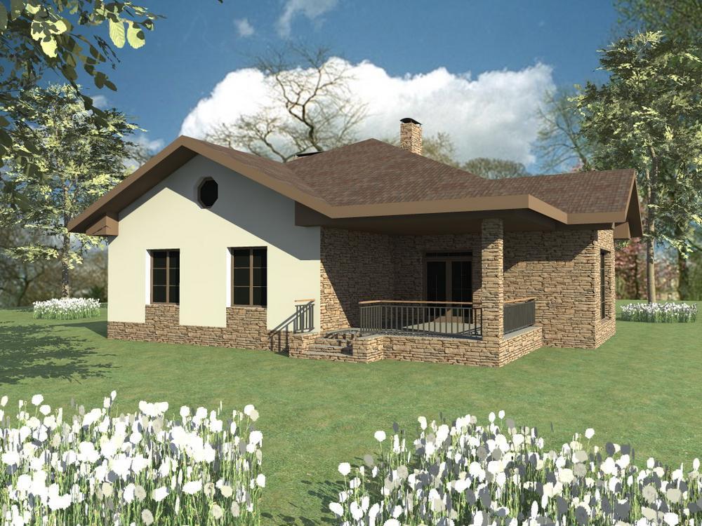 АСКЕР C-094. Проект красивого одноэтажного дома с тремя спальнями и террасой