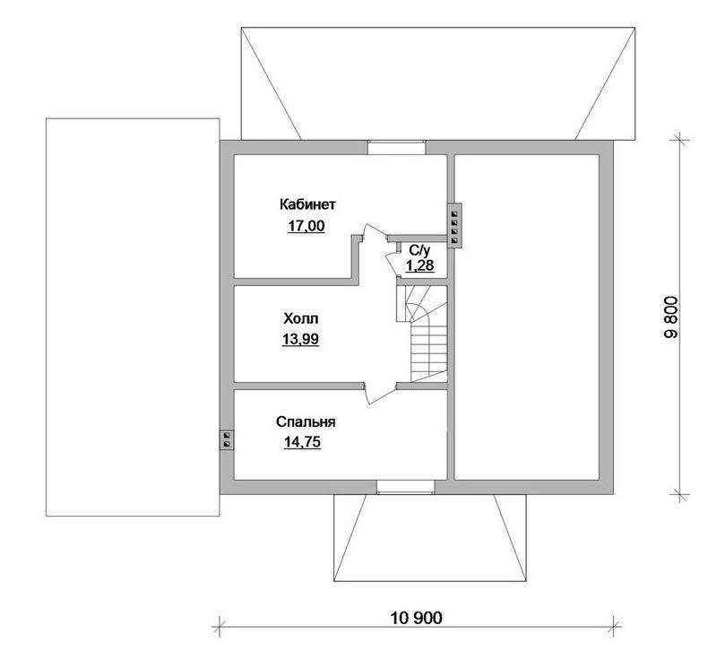 Аспект C-168. Проект одноэтажного дома с мансардой, гаражом, террасой, на 2 спальни