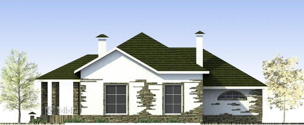 Астрофитум B-166. Проект одноэтажного дома с двумя спальнями, террасой и гаражом