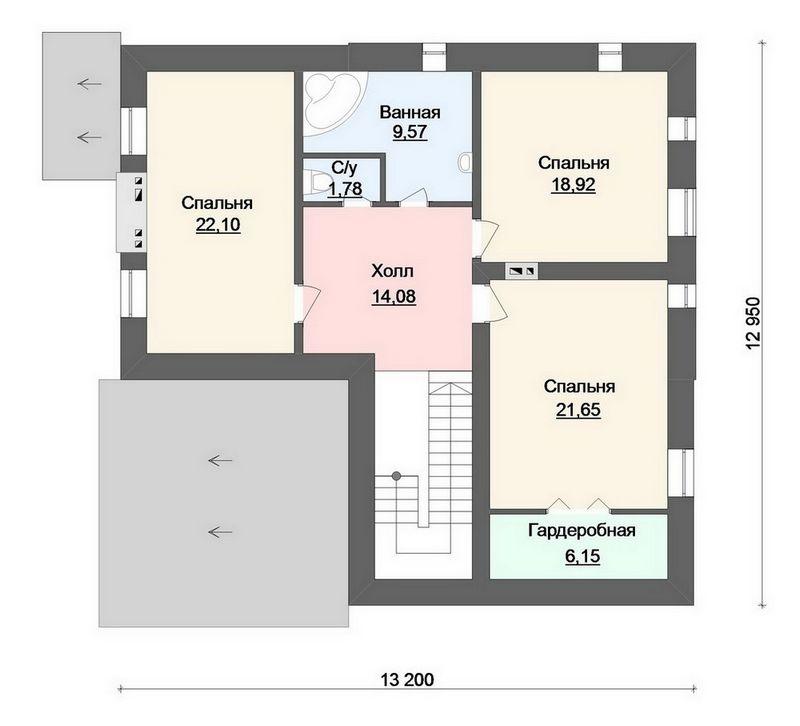 Асвальд D-090. Проект мансардного дома с четырьмя спальнями, террасой