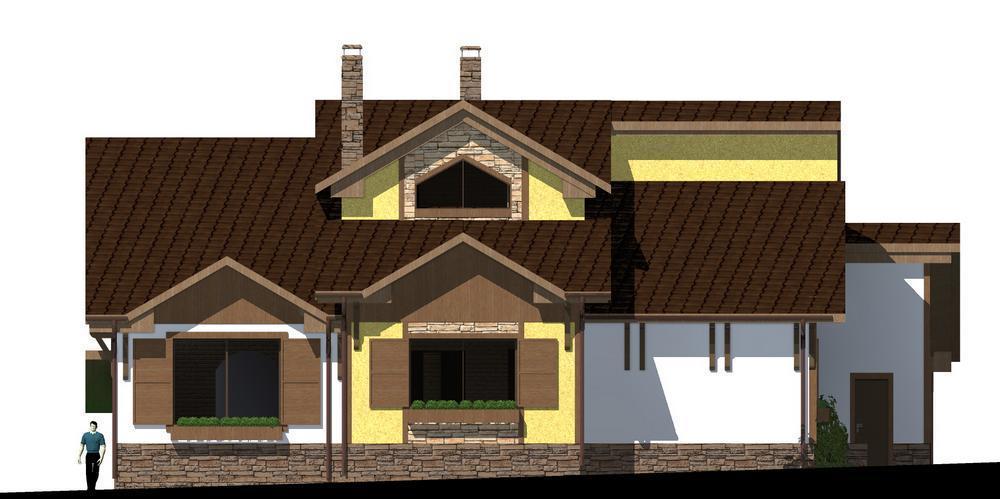 Атлас F-071. Проект мансардного коттеджа с цокольным этажом, на 4 спальни, с пристроенным гаражом