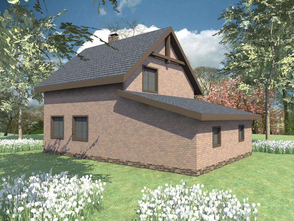 Атрей B-168. Проект мансардного дома на 2 спальни, с пристроенным гаражом