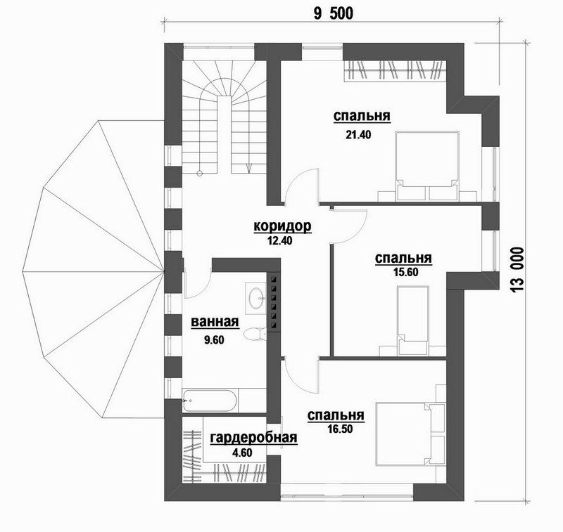 Атташе C-183 с видеообзором. Проект красивого мансардного коттеджа с четырьмя спальнями и полукруглой террасой