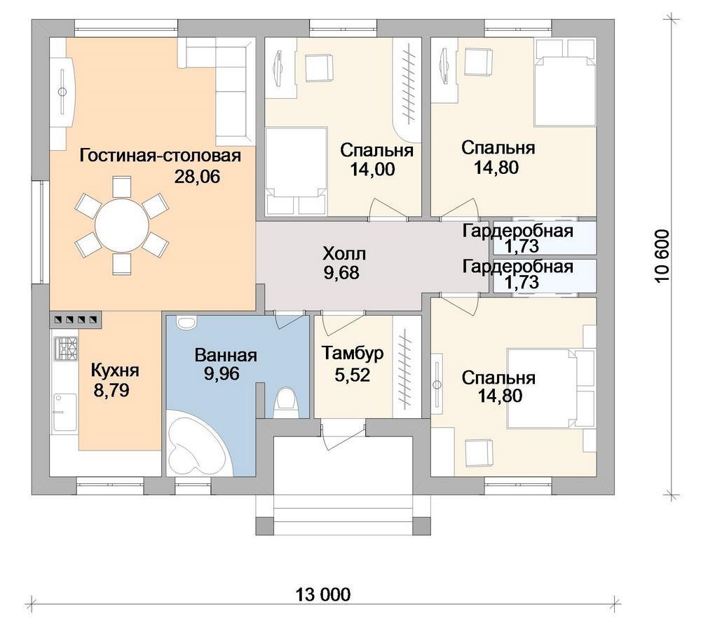 Багряное золото B-252 с видеообзором. Проект одноэтажного дома на 3 спальни