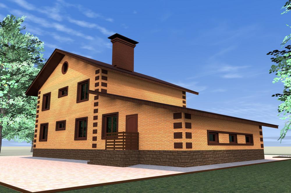 Бахус E-032. Проект большого двухэтажного дома на 4 спальни, с гаражом на 2 авто